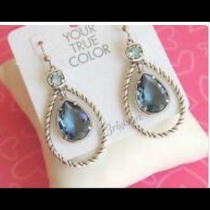 Brighton Earrings Blue Teardrop Sparkle Crystals